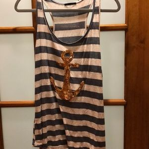 Glitter Anchor Tank Top